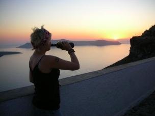 Erin and Wine - Santorini, Greece