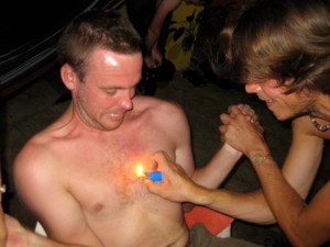 In lieu of fireworks, Ian lit Paul's chest on fire