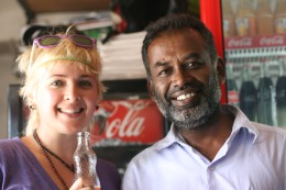 New friend at a convenience store, Colombo, Sri Lanka
