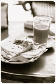 Cafe au lait and crepe at Cafe Tingis, Tangier - Erin J. Bernard