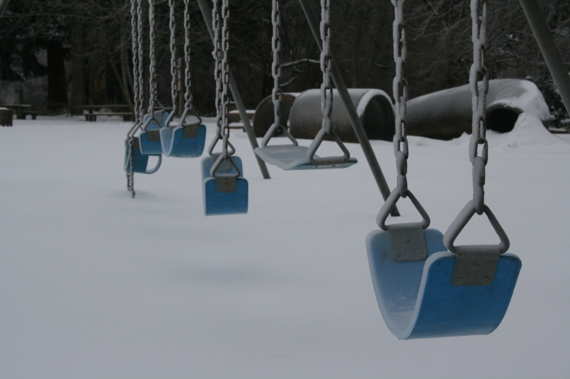 Erin J. Bernard, erinjbernard.net, weird quiz, swings, snow, winter, playground