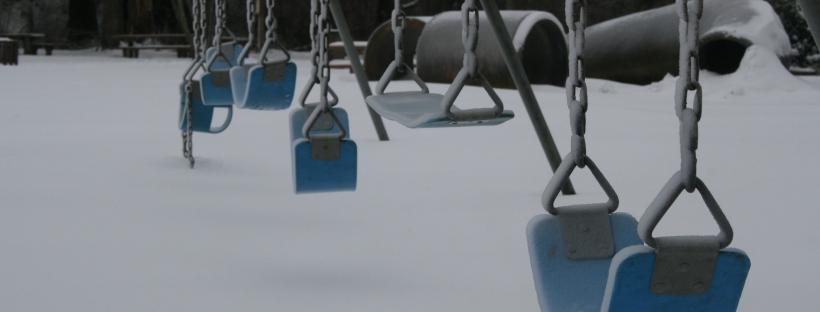 Erin J. Bernard, erinjbernard.net, weird quiz, swings, snow, winter, playground